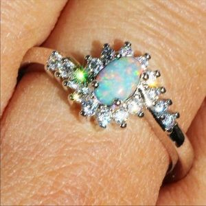 Jewelry - White Multicolor Opal Stone Silver Ring